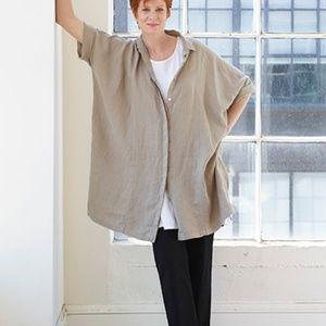 SOLD Cut Loose 1 Beige Tan Linen Kimono Shirt